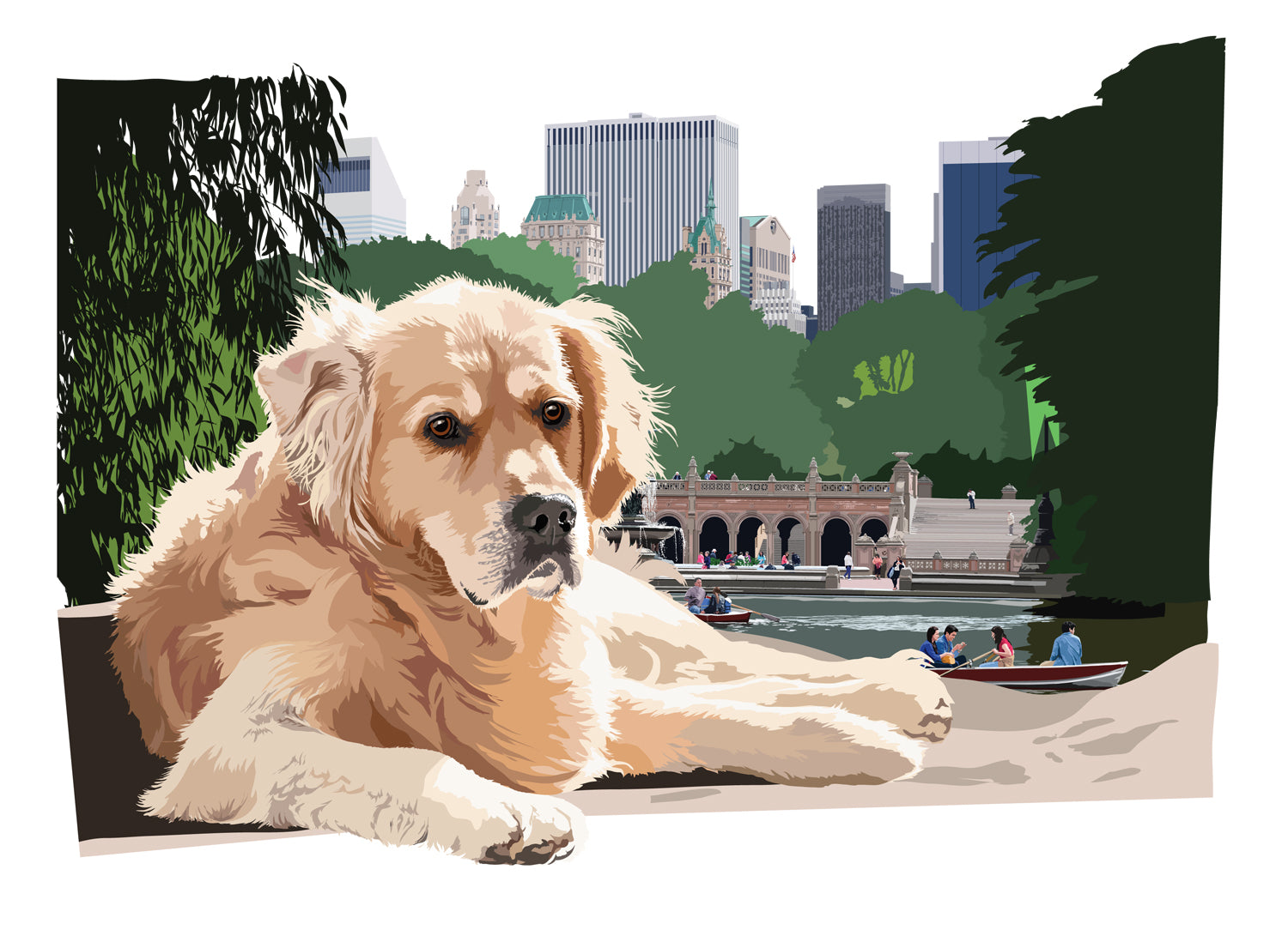 Retriever resting in Central Park, NY