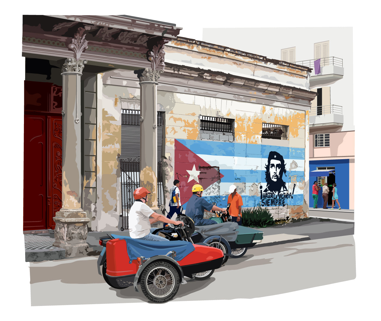 Havana,street with images of Ché