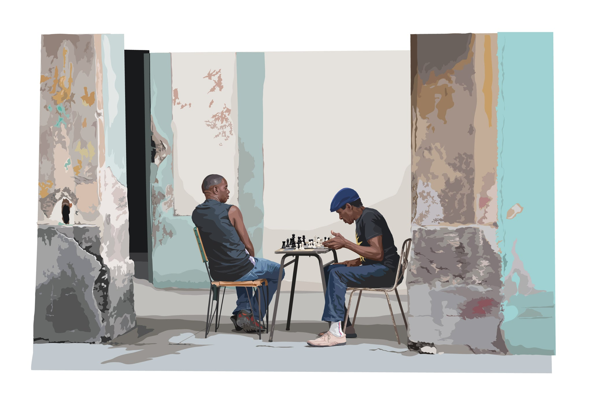 Limited edition print ' Chess match' in the back streets of Havana, Cuba.