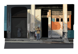 Havana limited edition Giclée art print, man in thought on street,