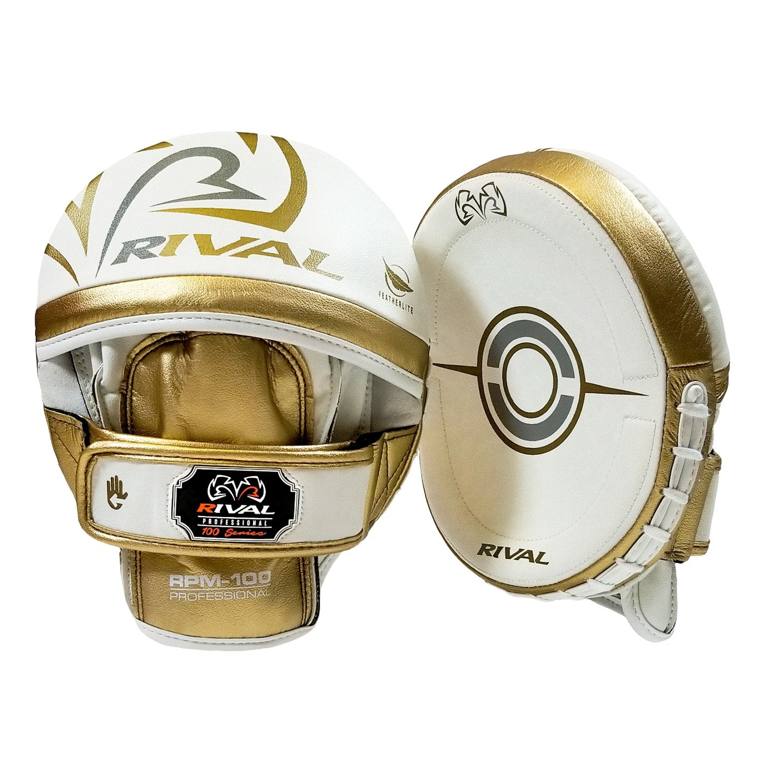 RIVAL RPM100 PROFESSIONAL PUNCH MITTS-WHITE/GOLD