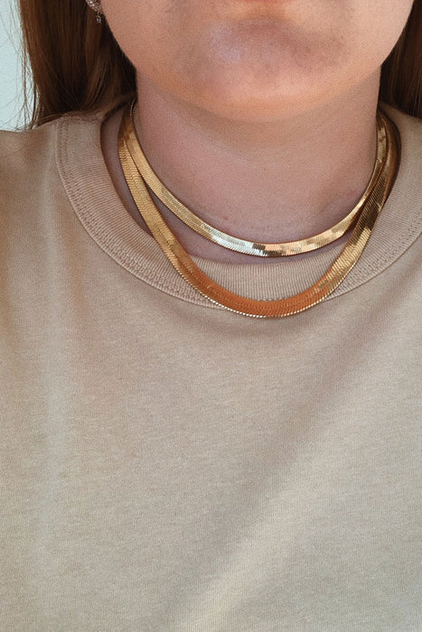 Mara Necklace Herringbone Thick - Gold