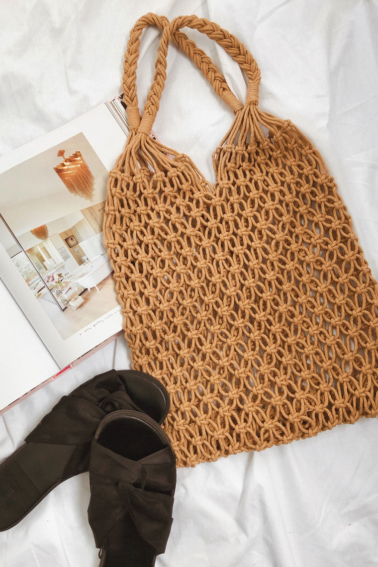 St. Kitts Crochet Netted Bag - Tan