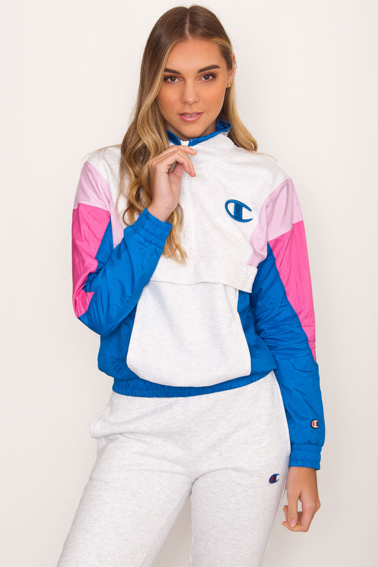 Champion Mixed Media Pullover - Pink/Blue