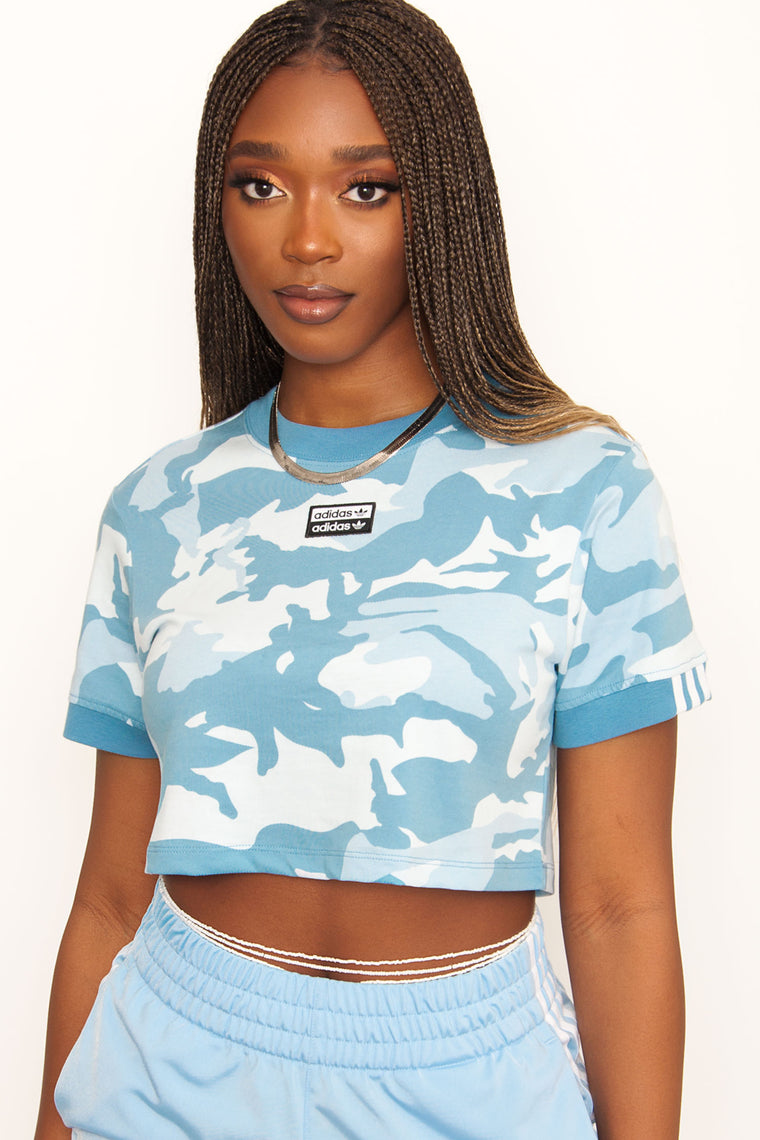 Adidas Originals Cropped Camo Tee - Blue