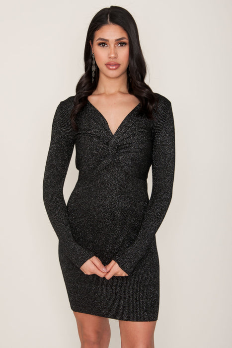 Viola Black Glitter Knit Dress