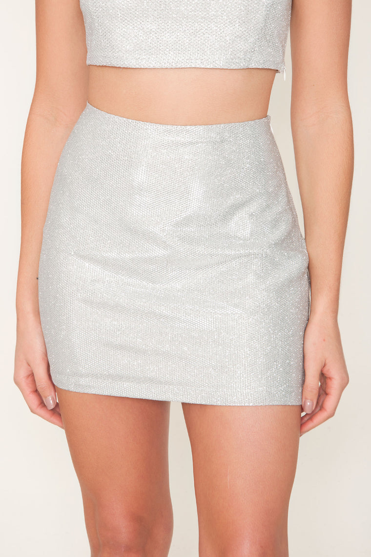 Icy Silver Mini Skirt