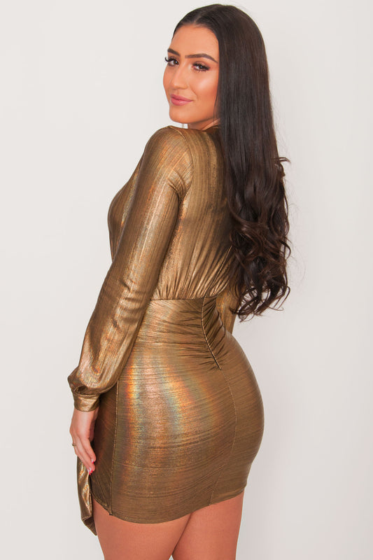 Josephene Draped Mini Dress- Gold