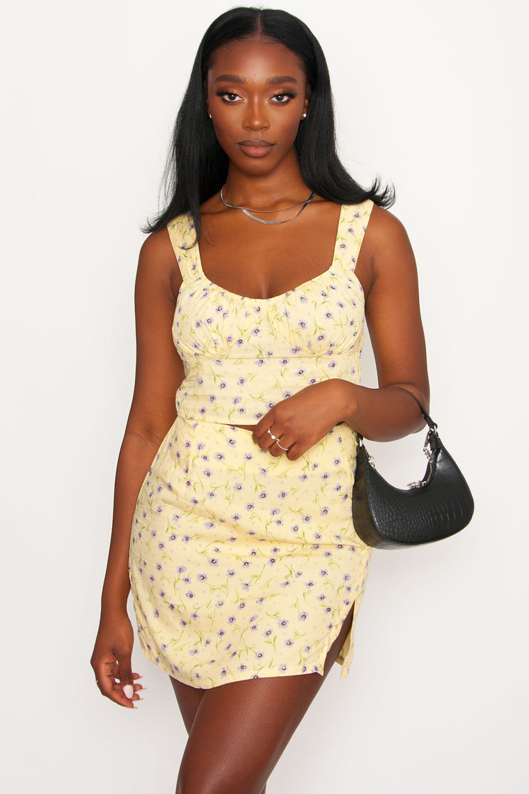 Motel Sheny Skirt - Yellow Floral Print