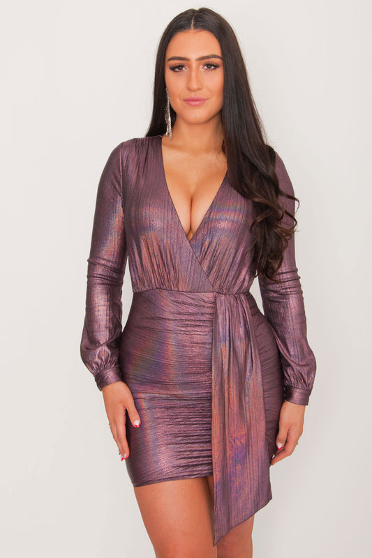 Josephene Draped Mini Dress- Plum
