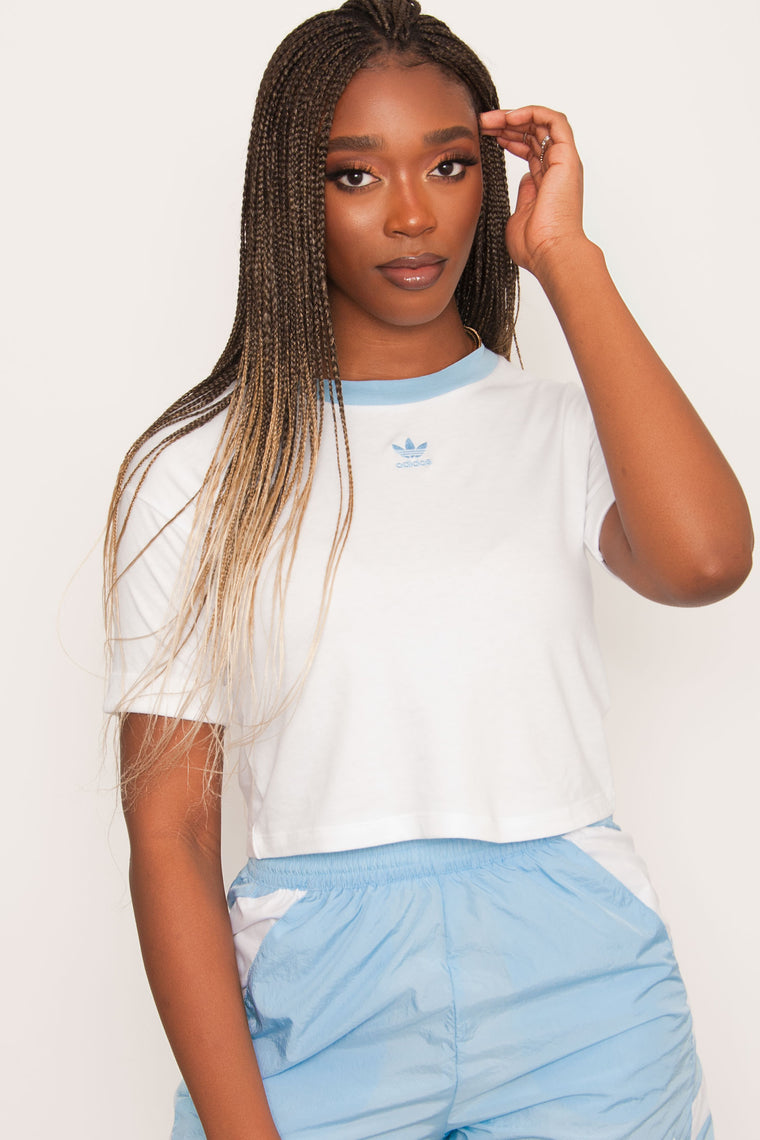 Adidas Originals Cropped Tee - White/Blue