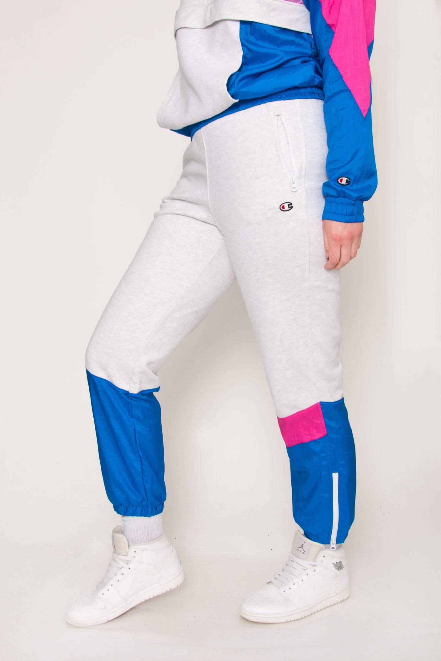 Champion Mixed Media Sweatpants - Pink/Blue