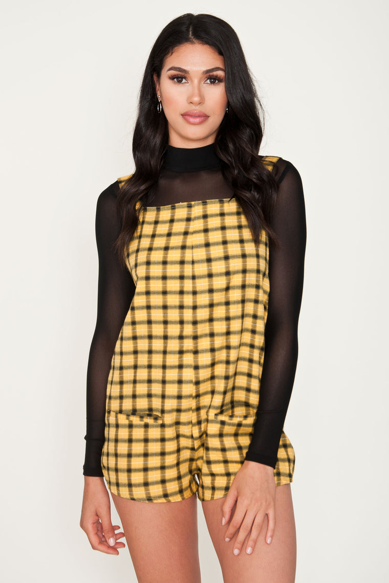 Dion Yellow Plaid Overalls