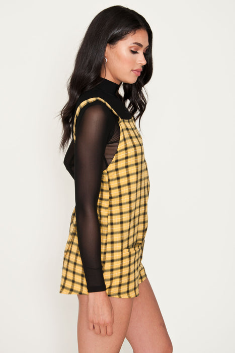 Dion Yellow Plaid Overalls - Alexa Pope