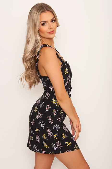 Willow Floral Dress - Black