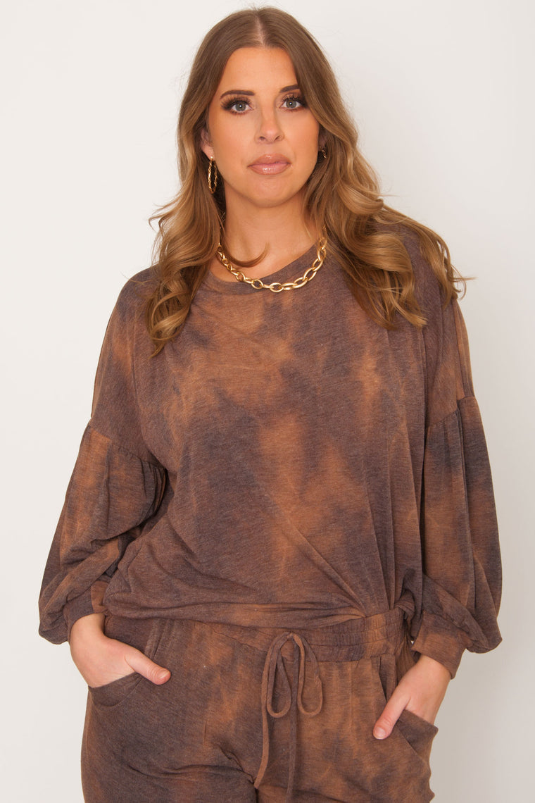 Mocha Cream Tie Dye Sweater
