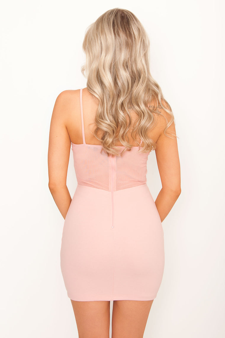 Denise Mesh Bustier Bodycon - Pink