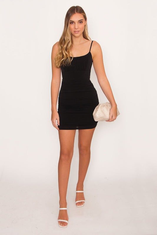 Damsel Ruched Bodycon - Black