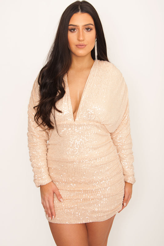 Disco Queen Sequin Ruched Mini