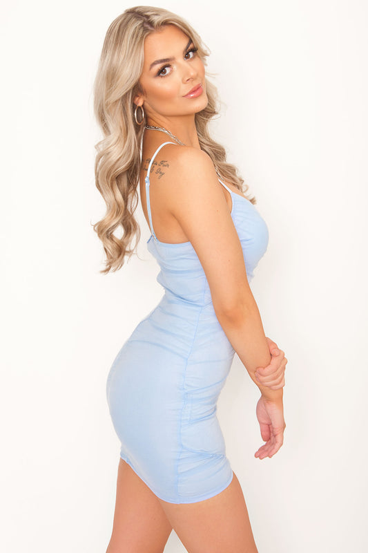 Risa Ruched Bodycon - Ice Blue