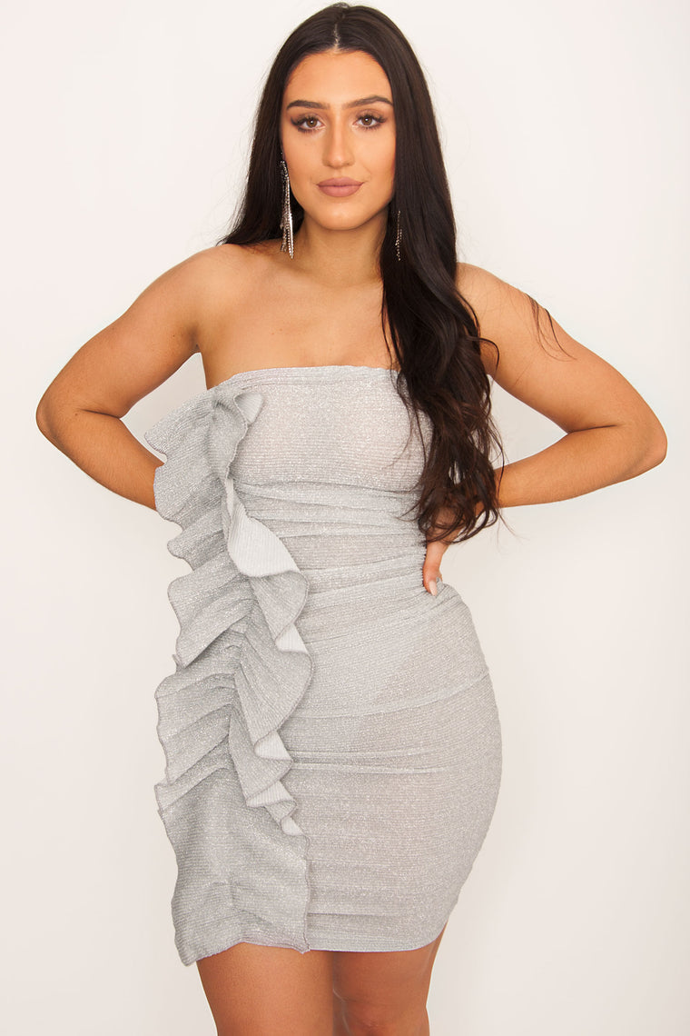 Silver Bells Ruffle Bodycon