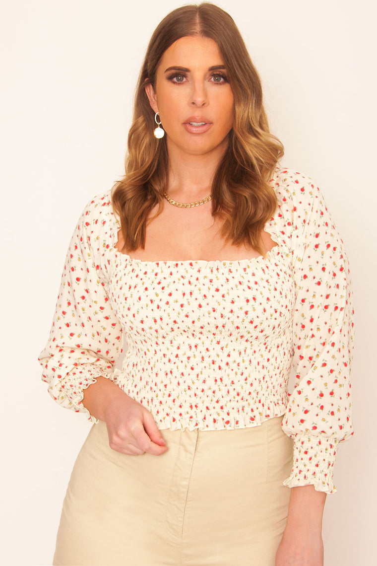Carolina Smocked Top - Cream