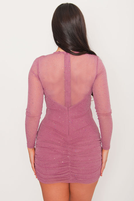 Thalia Glitter Mini Dress - Mauve