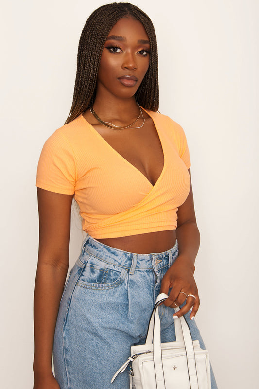 Motel Bria Wrap Top - Orange