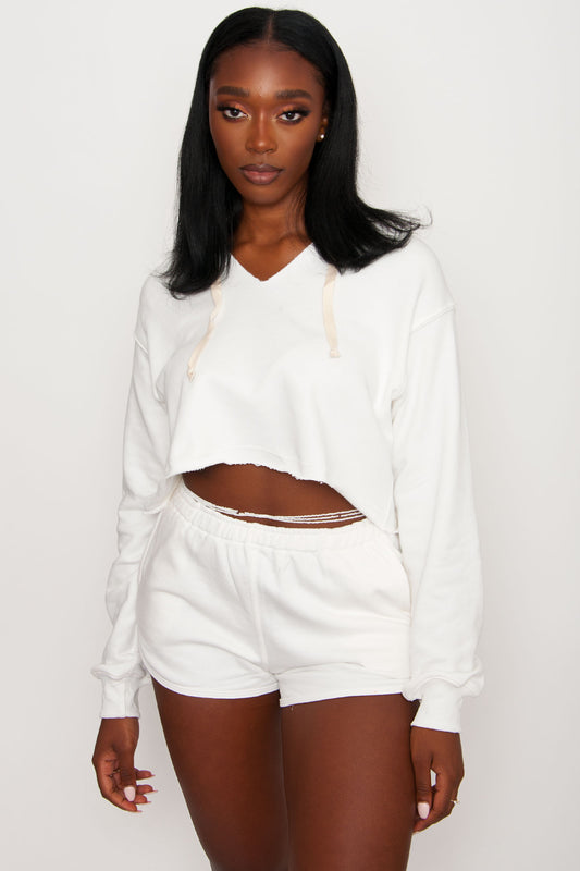 Essential French Terry Shorts - White