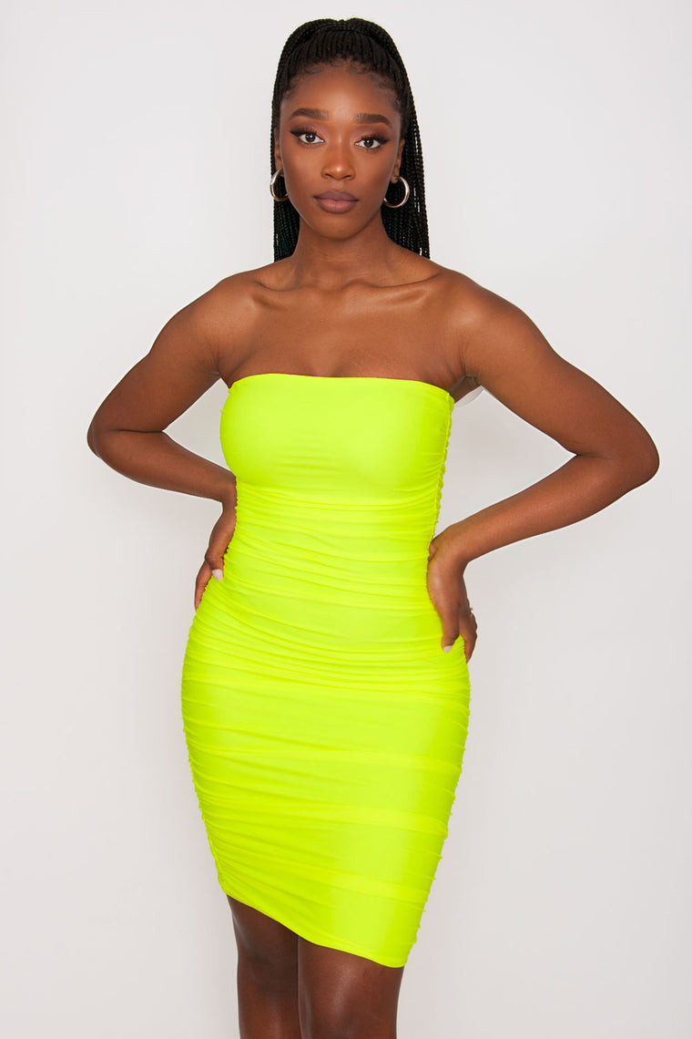 Tiger Mist Keeli Dress - Neon Yellow