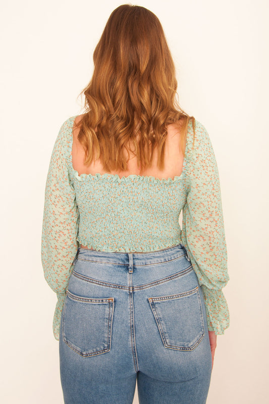 Meadows Sweetheart Crop - Green