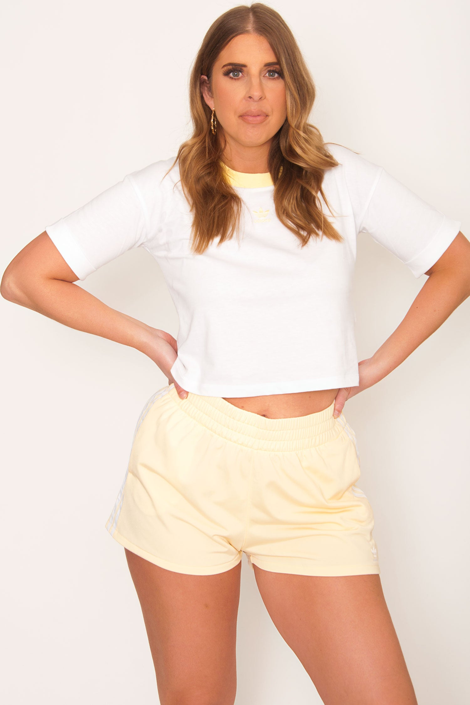 PRE-ORDER Adidas Originals Cropped Tee - White/Yellow