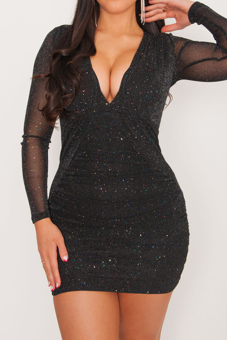 Thalia Glitter Mini Dress - Black