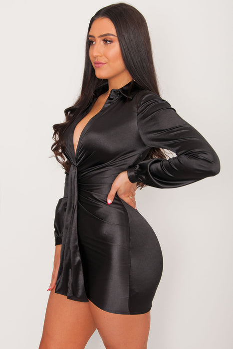 Brooklyn Satin Dress - Black