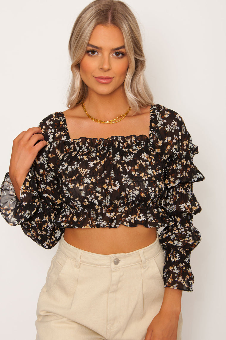 Mikoh Floral Top - Black
