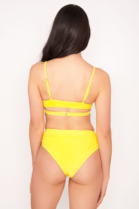 Glow Lemon Ribbed Bikini Top