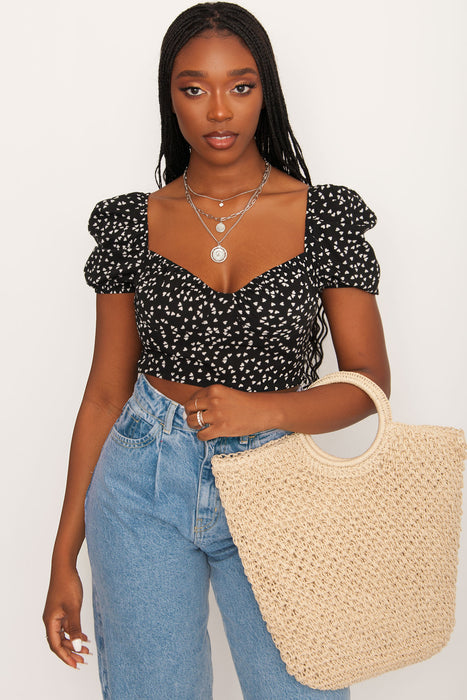 Renee Puffed Sleeve Heart Top