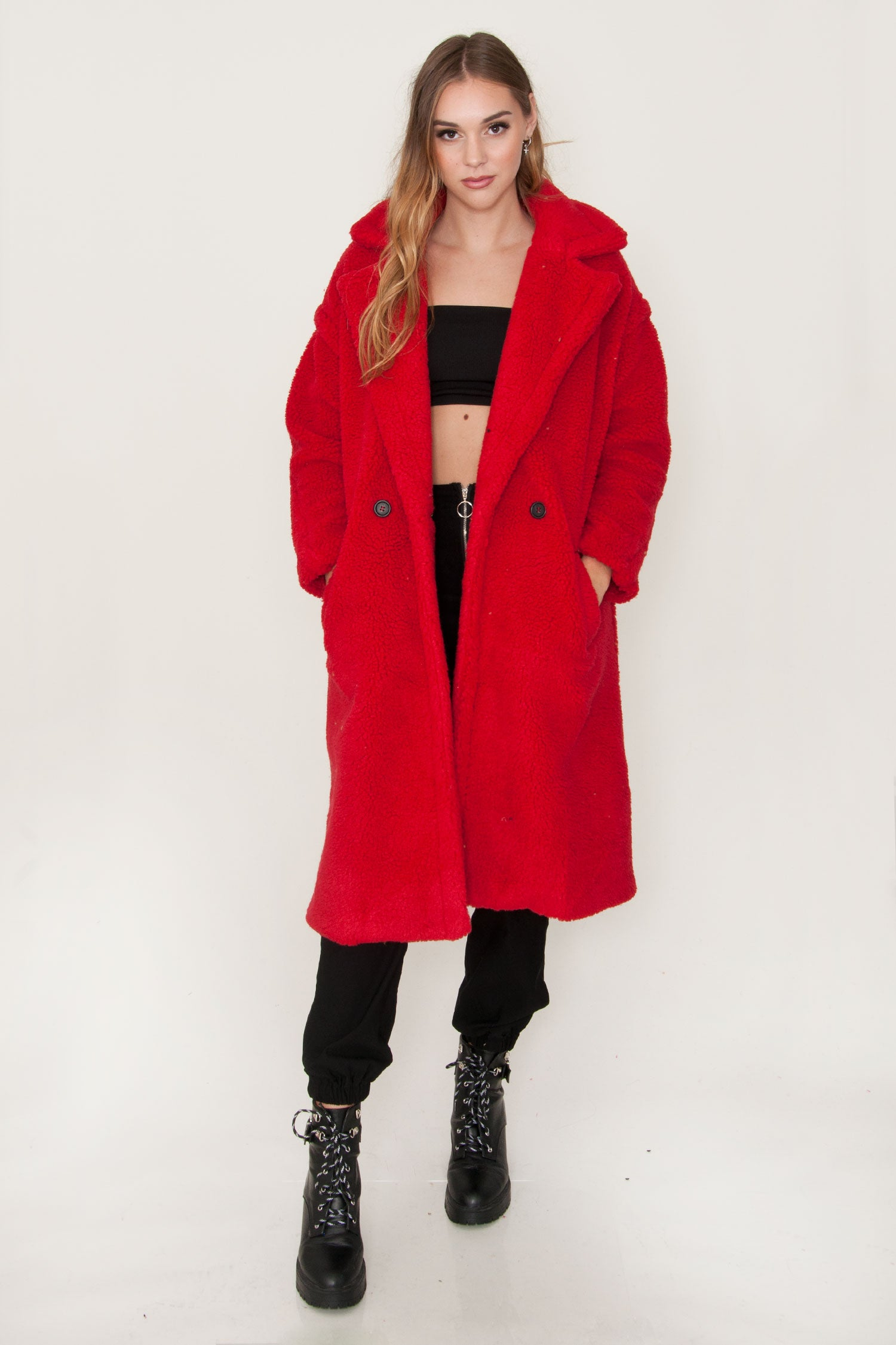 The Pavilion Red Teddy Trench