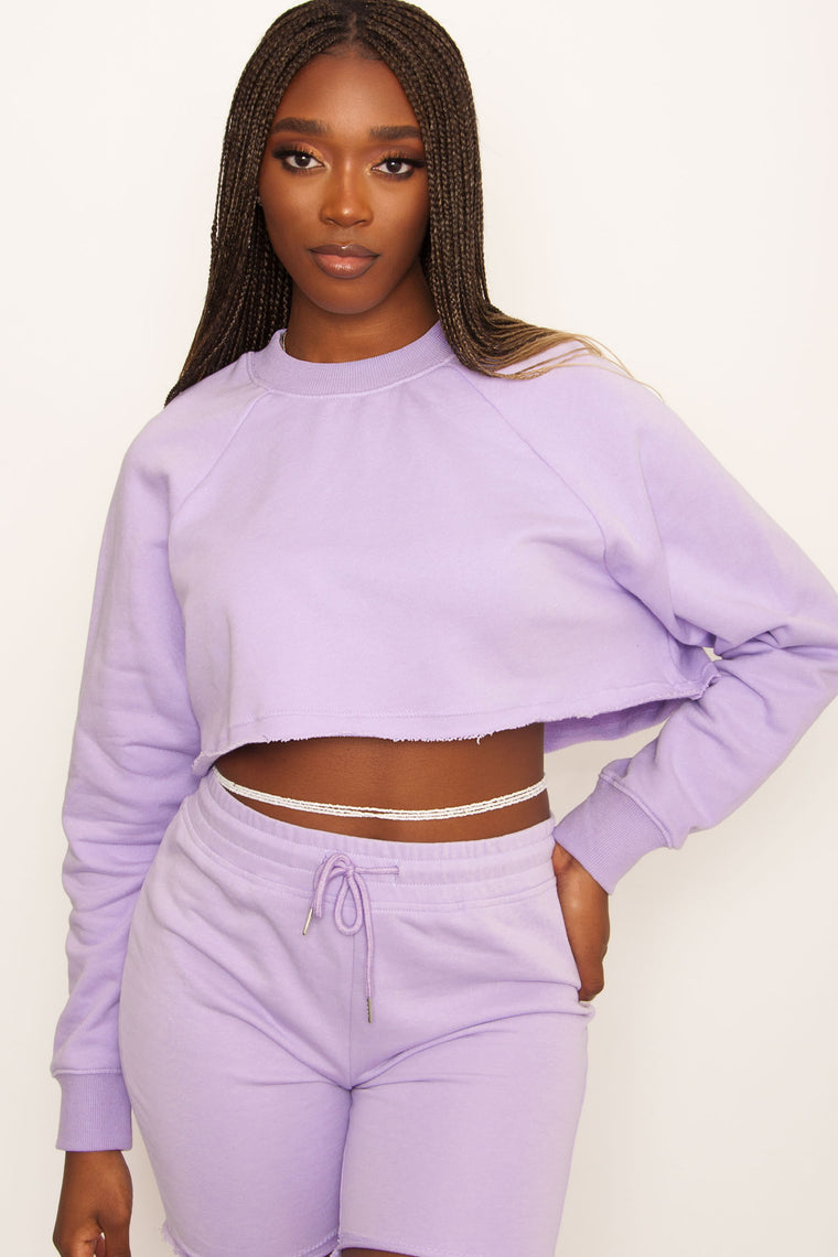 Vice Cropped Crew - Lilac