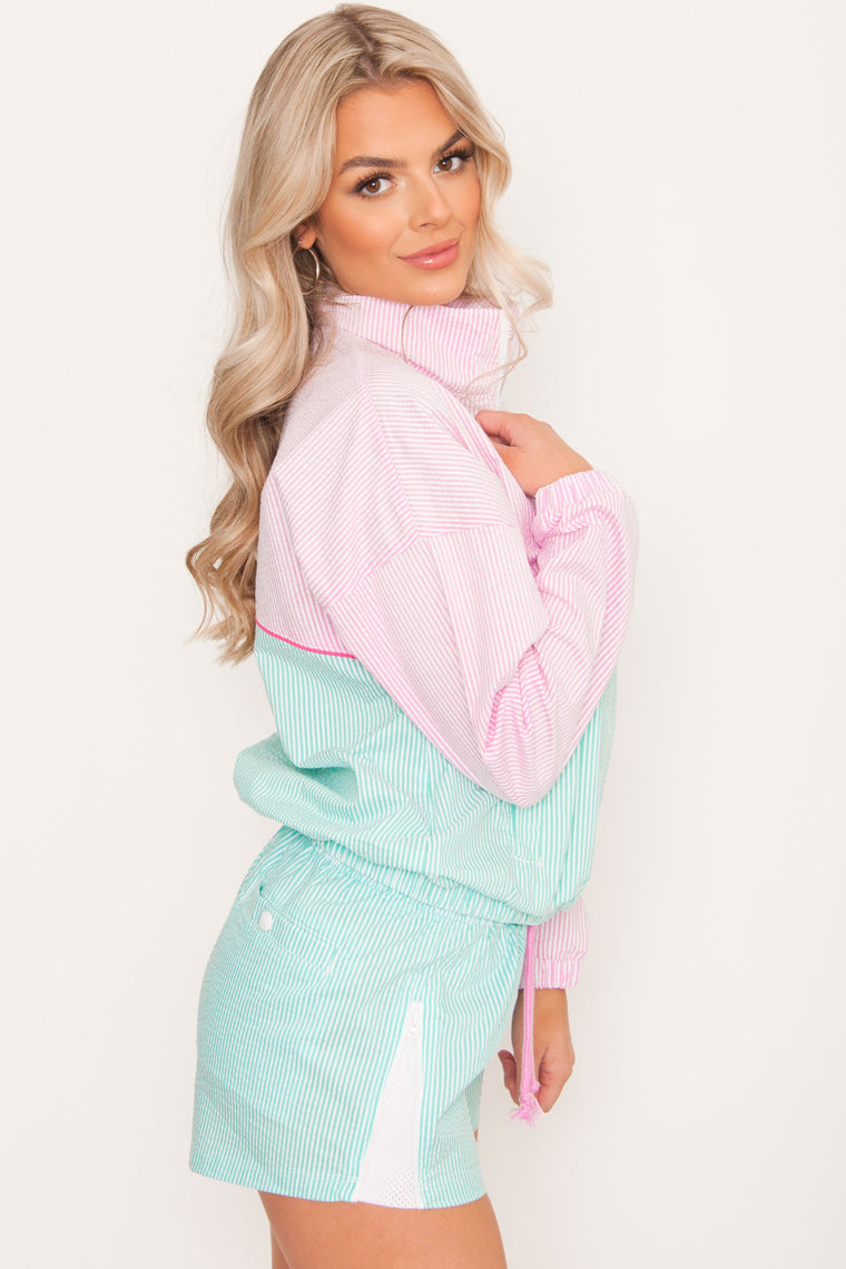 PRE ORDER Champion Seersucker Popover Jacket - Light Sea Green/Ice Cake