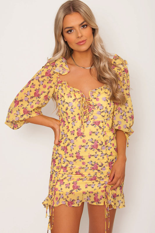 Avalon Ruched Dress - Yellow
