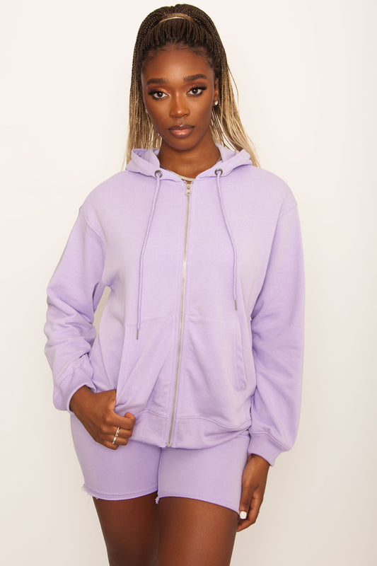 Loosen Up Boyfriend Zip Hoodie - Lilac