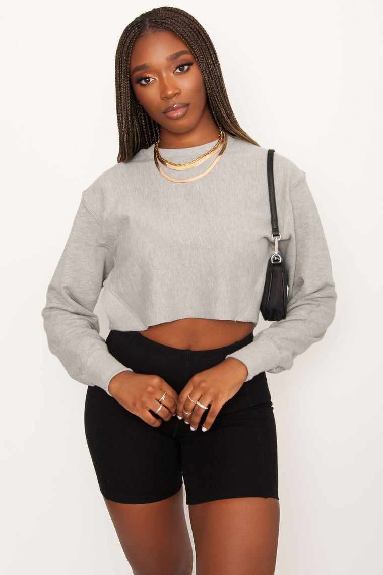 Vice Cropped Crew - Grey