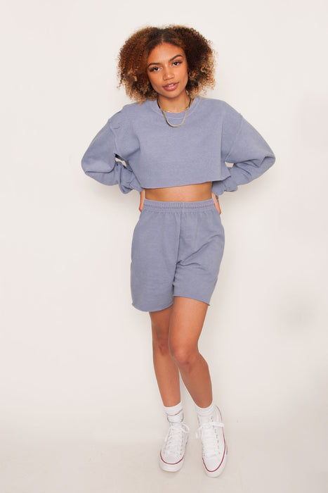 GKA Washed Crop Sweater - Blue