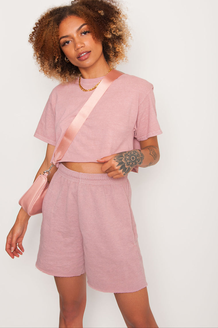 GKA Washed Raw Hem Shorts - Pink