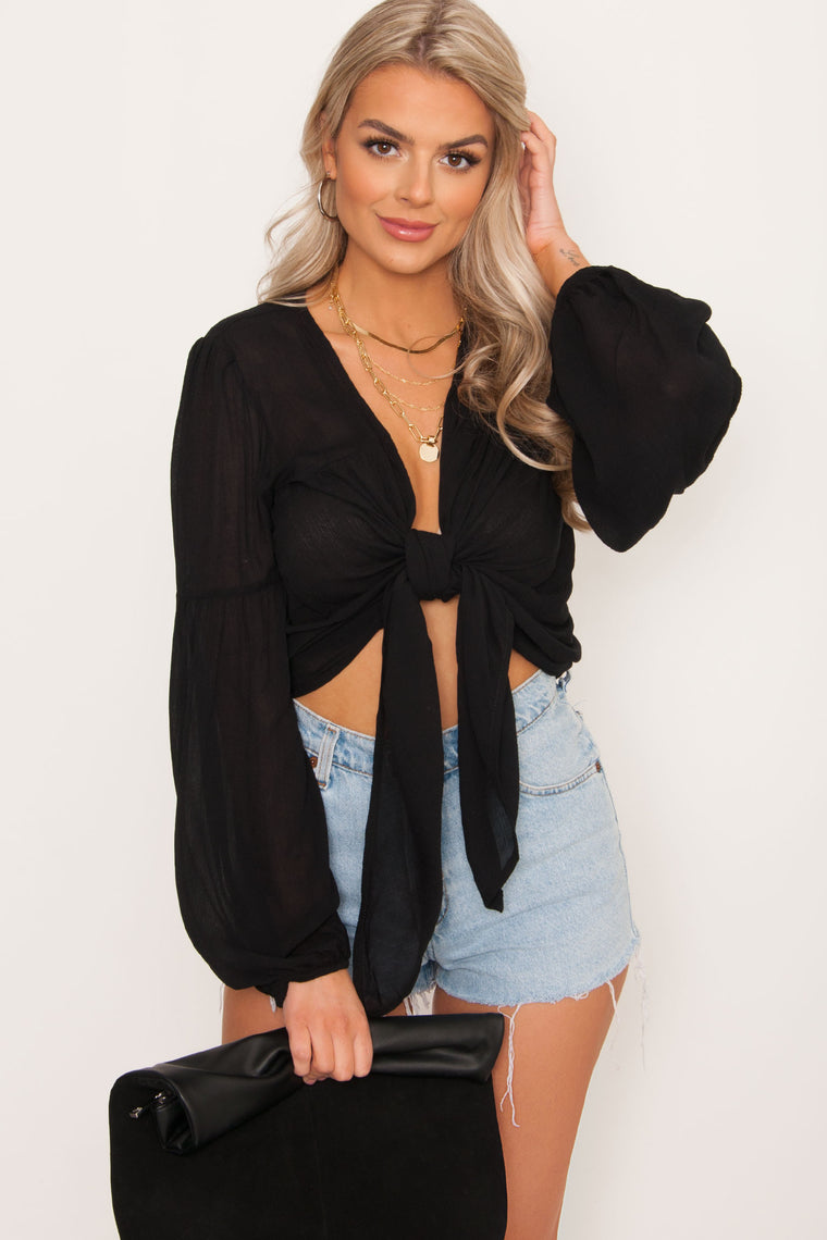 Sandy Tie Top - Black