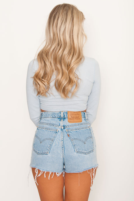 Back To You Ribbed Crop - Blue