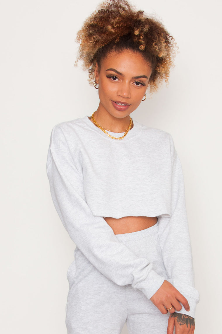 GKA Washed Crop Sweater - Ash Grey