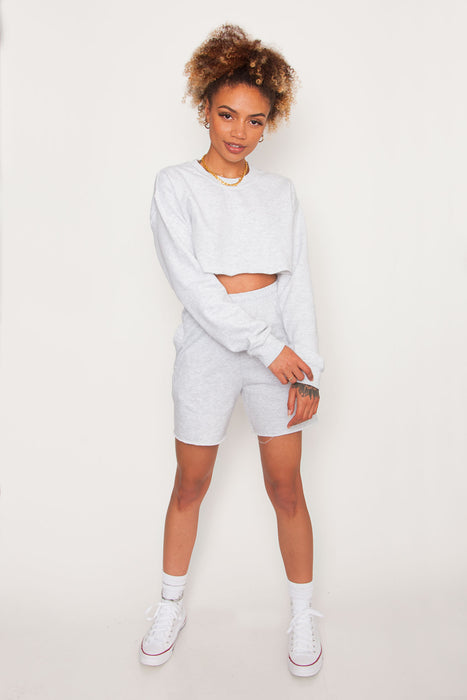 GKA Washed Raw Hem Shorts - Ash Grey
