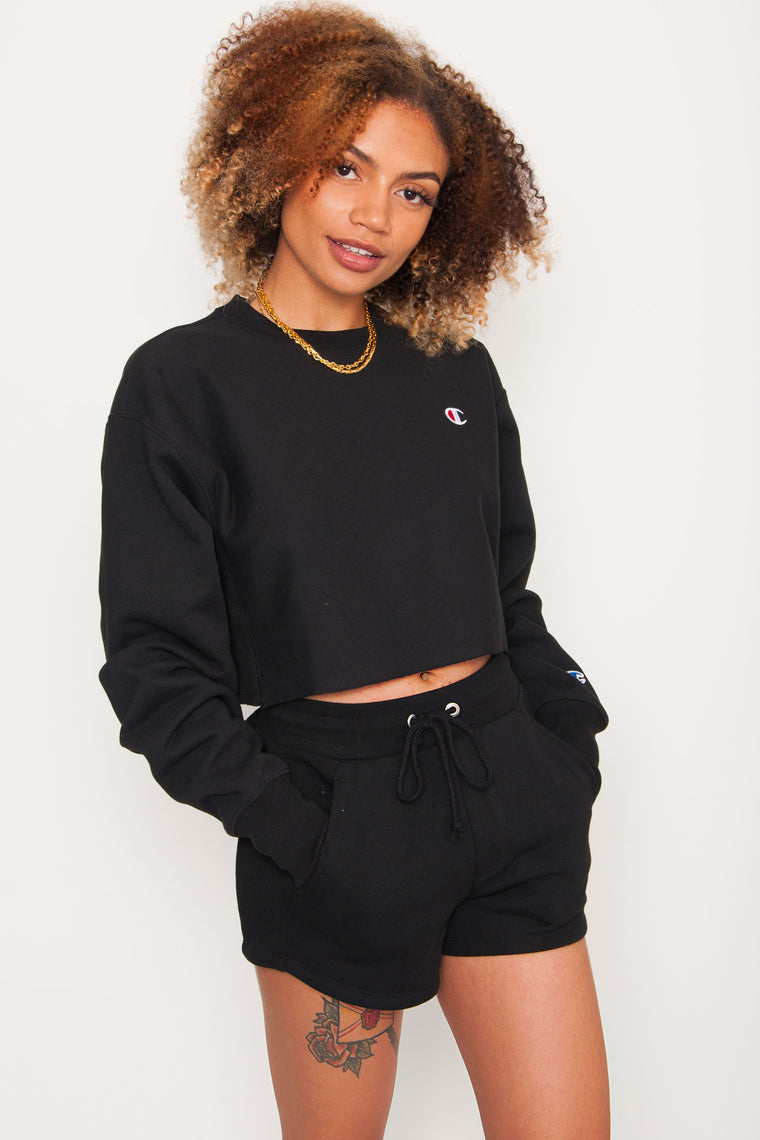 Champion Cut Off Cropped Crew - Black
